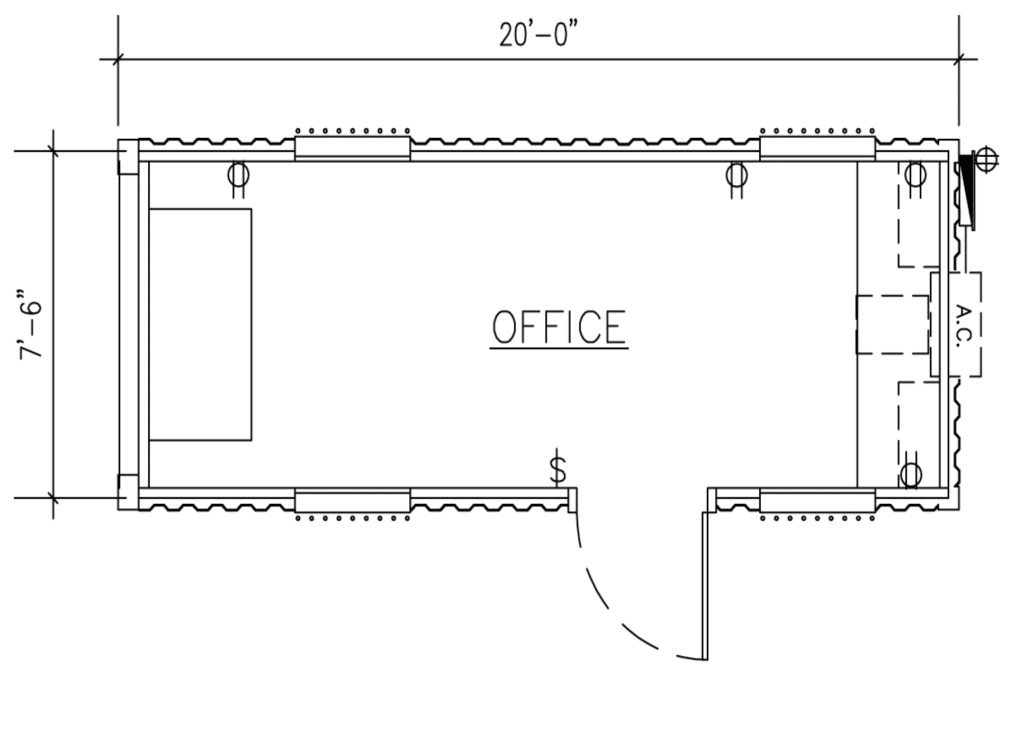 20′ Ground Level Office Container All Office with BARD HVAC
